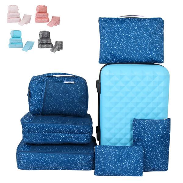 6 pezzi borsa di immagazzinaggio di viaggio set per i vestiti ordinato organizzatore guardaroba valigia sacchetto dell'organizzatore di viaggio borsa caso scarpe imballaggio borse cubo