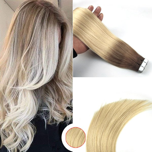 Easyouth Skin Weft Hair 50g 20Pcs por paquete Color 6 Desvanecimiento a 613 Pegamento en extensiones de cabello Cinta adhesiva Cabello