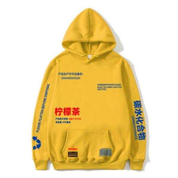 Thé au citron épais imprimé Polaire Pull Hoodies Hommes / Femmes Casual Hooded Sweatshirts Streetwear Hip Hop Harajuku Homme Hauts Vintage Tea Lemon