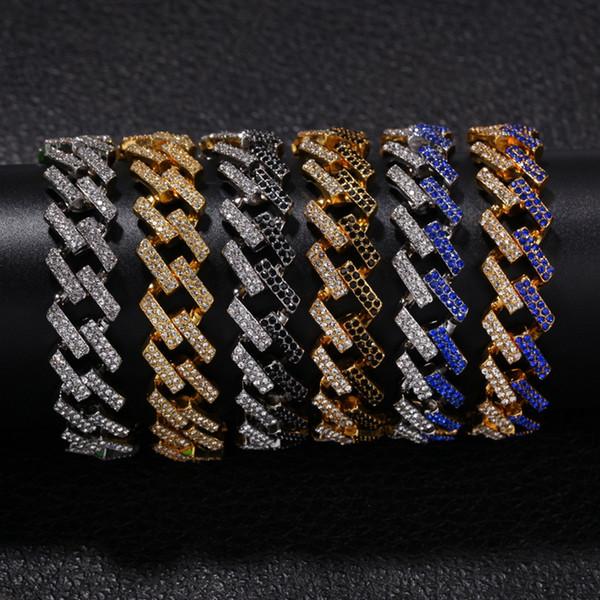 Braccialetti da uomo in oro hip hop Braccialetti di diamanti neri blu Gioielli di moda Ghiacciati Bracciale a maglie cubane di Miami da 8 pollici