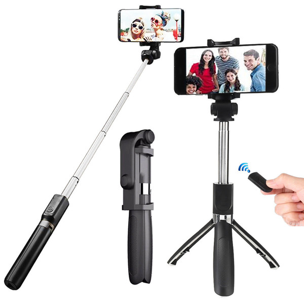 2019 Vendita calda L01 Bluetooth Telecomando senza fili allungabile Selfie Stick Treppiede Supporto per monopiede per smartphone da 3,5-6,2