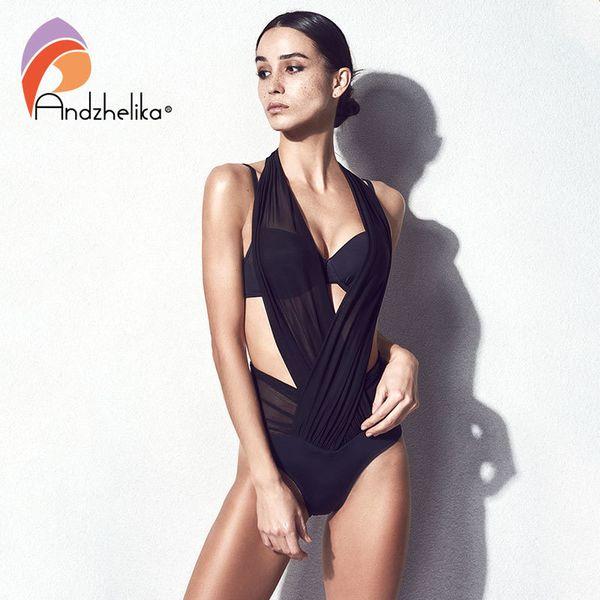 Andzhelika Bikini Woman Push Up Swimwear Sexy Mesh Patchwork Bikinis Set Three Kinds Of Wear Law Beach Swimsuit Bathing Suits Y19062901