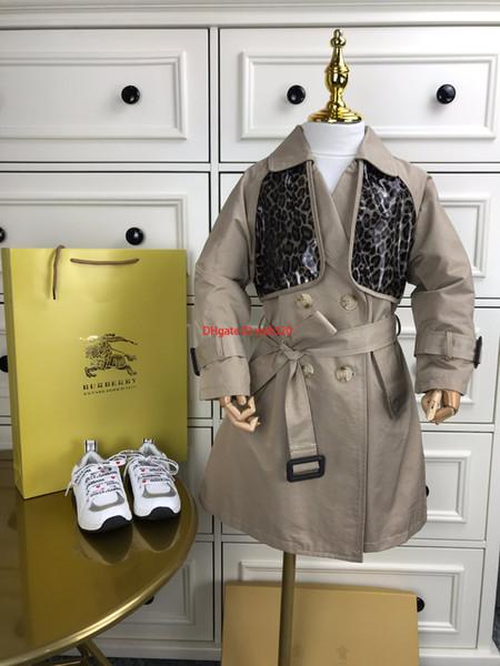 2019Kinder Windjacke Kinder Designer Kleidung Herbst Jungen und Mädchen langen Mantel Zweireiher Hüftgurt Design Mantel