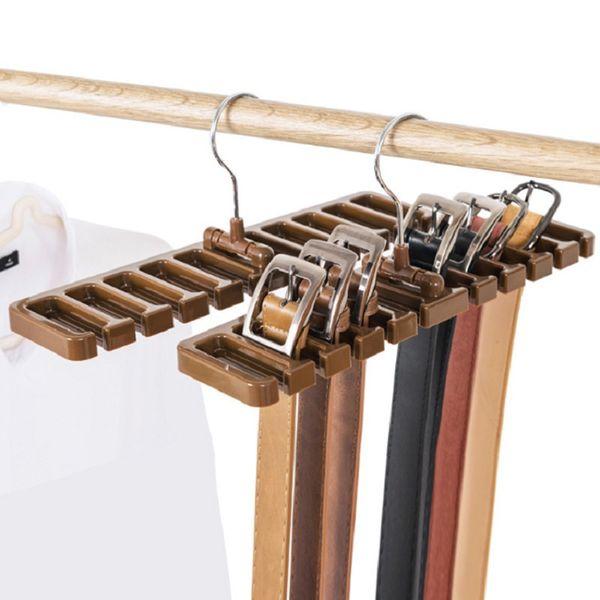 10 Armazenamento grade tie rack Belt Organizador Space Saver Rotating Scarf Ties Hanger Titular gancho Organização Closet Tops Bra Bag Belt