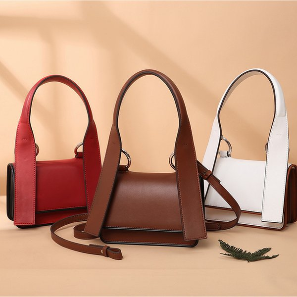 Belle2019 Leather Genuine Woman Tide Napa Cowhide Ribbon Single Shoulder Portable Ma'am Small Square Package
