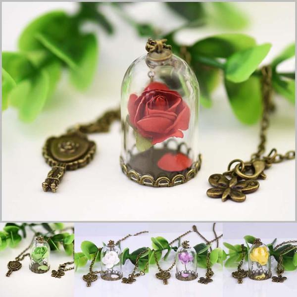 Flor de belleza Collar rosa Flor seca Cúpula de cristal collares de botella con mariposa clave para mujeres Regalo de la joyería de los niños DROP SHIP 161969