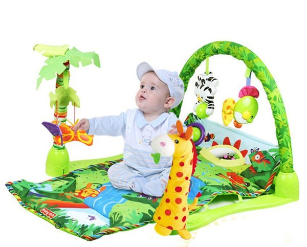 [TOP] 100% Safe Delicate Music Sound Farm Animal giraffe Baby Playing Mat Carpet activity forest Play mat Gym Toy game mat
