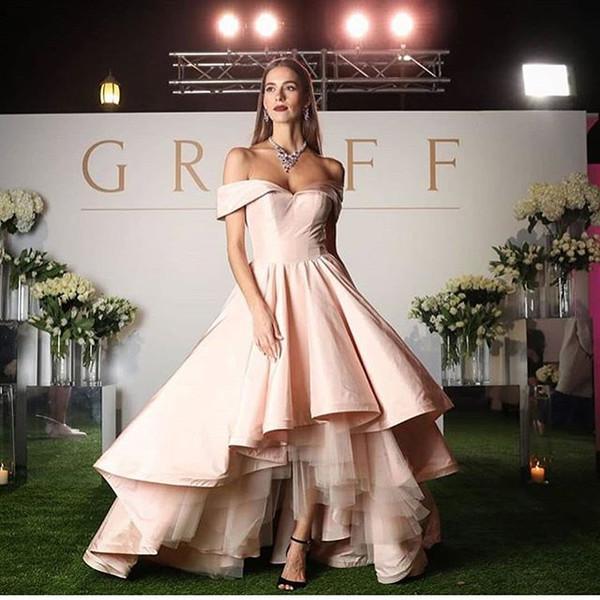 2019 Elegant Hi Low Evening Dresses Off The Shoulder Baby Pink Tulle Taffeta Formal Evening Occasion Dresses Hot Sale