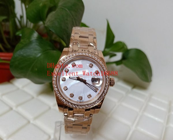 Hot buy Ladies Watches 36 mm 31mm 81298 81299 81315 18k Rose Gold Pearlmaster White Diamond Dial Asia 2813 Movement Automatic Ladies Watch