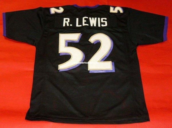 Pas cher rétro # 52 RAY LEWIS CUSTOM BLACK MITCHELL NESS Jersey noir Hommes surpiqures S-5XL, 6XL Maillots Football Course à pied