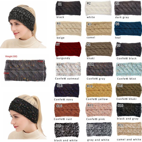 Knitted Headbands Women Winter Ears warmer Headbands Knitted Turban Headwrap Crochet Headband Hair Accessories 21colors MMA890
