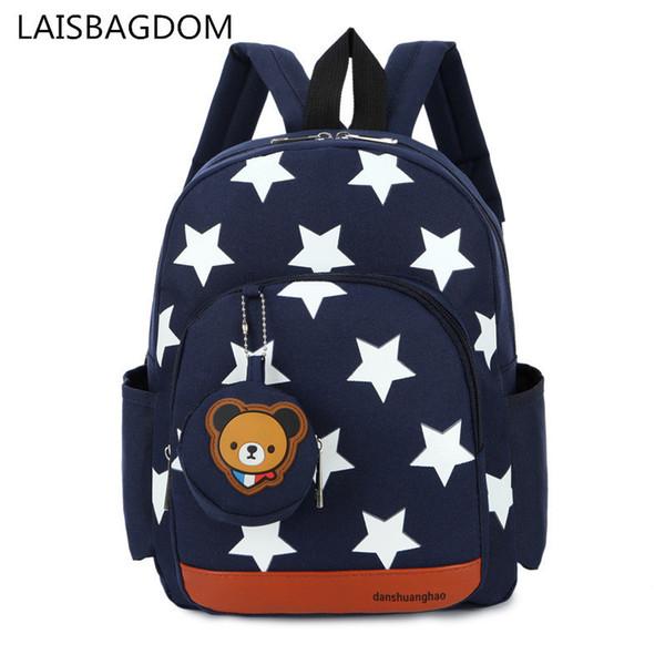 Boys Backpacks For Kindergarten Stars Printing Nylon Children Backpacks Kids Kindergarten School Bags For Baby Girls C19032801