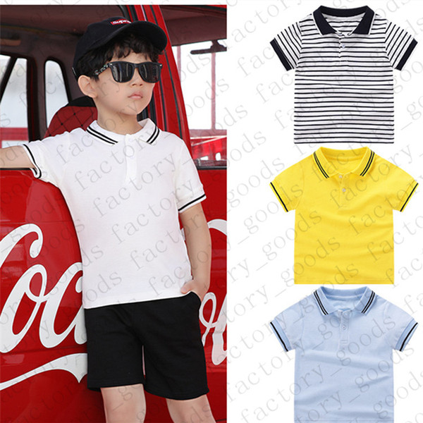 top popular Kids Solid Color Tees Striped Polos T Shirt Kids T-shirt Summer Short Sleeve Sports Top Casual Tees Fashion Boys Girls T Shirts CZ311 2021