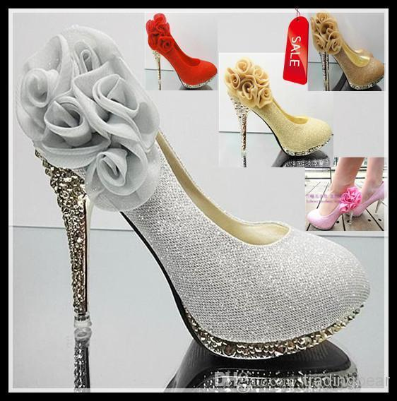 Sexy2019 Shinning Glitter High Heels Shoes Pink Yellow Gold Red Silver Flower Wedding Bridal Shoes Colors EU34 To EPacket