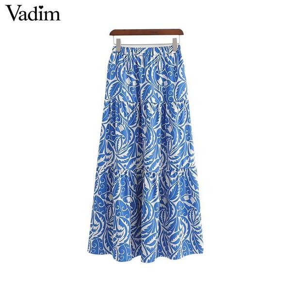 21de041044 Vadim Mujeres Imprimir Falda Midi Faldas Mujer Cintura Elástica Plisada Una  Línea Mujer Casual Wear Elegante