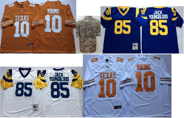 Texas Longhorns #10 Vince Young Mens Vintage College LA 85 Jack Youngblood 12 Brandin Cooks Color Rush American Team Football Sports Jerseys
