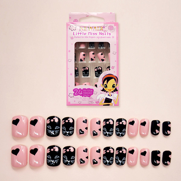 24pcs Cat Pink False Nail Tips Cartoon Short Fake Nails Art Women Children Acrylic Cute Animals Patterns New