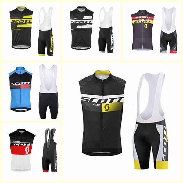 sets cortos SCOTT equipo de ciclismo Jersey sin mangas del chaleco de los hombres de la montaña babero 2020 ropa de la bici respirable cómodo U120618