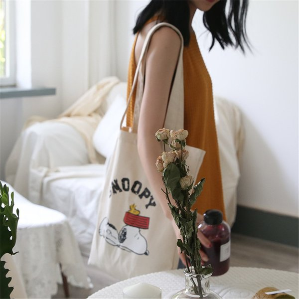 Cartoon Animal Print Shoulder Bag Cute Dog Painting Soft Canvas Totes Bags Reusable Travel Grocery Handbag Eco Shopping Zipper