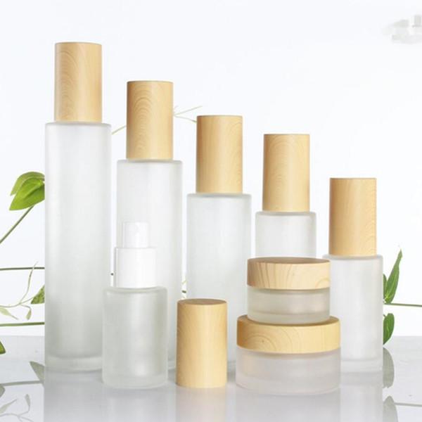 30ml / 40ml / 60ml / 80ml / 100ml Bottiglia di vasetto di crema cosmetica di vetro smerigliato, vasetto di crema per il viso, crema di fondazione essenza bottiglia di pompa di bambù imitazione coperchi