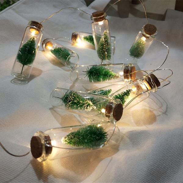 1 М 10 шт. Мини Рождественская Елка LED String Fairy Lights Стеклянная Бутылка Подвеска Натале Гирлянда Рождественские Украшения для Дома Новый Год Подарок