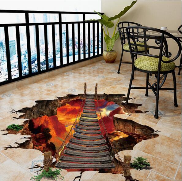 Adesivi murali effetto 3d Flame Mountain Cable Bridge rimovibile impermeabile vinile carta da parati in pvc per la casa Decoraiton SH190717