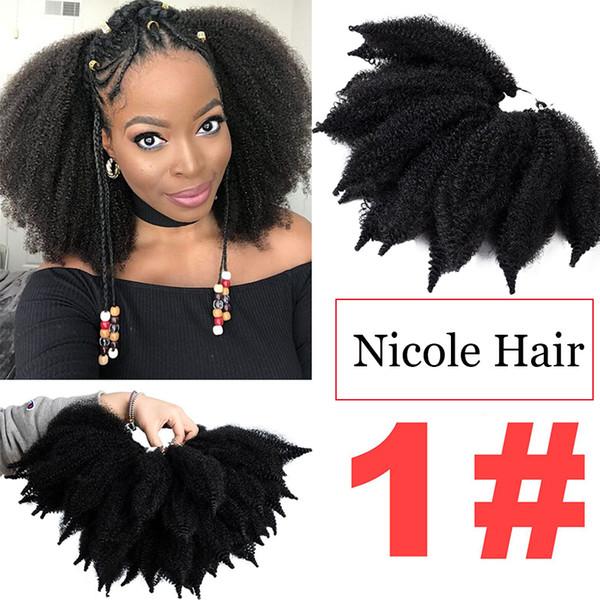 Nicole 8 Inç Tığ Marley Örgüler Siyah Kahverengi Bug Renk Saç Yumuşak Afro Büküm Sentetik Örgü Saç Uzantıları Yüksek Sıcaklık Fiber