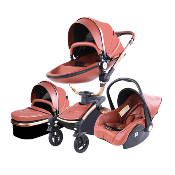 Luxury baby troller 3 in 1 leeping ba ket car afety eat pu leather newborn baby carriage 0 36 month baby pram
