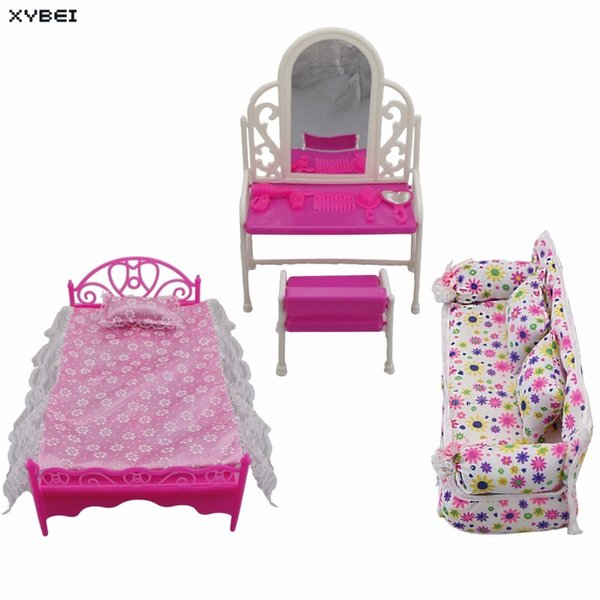3 Items/lots = 1x Doll Bed Furniture + 1x House Dressing Table + 1x Flower Cloth Sofa For Barbie Doll Accessories Birthday Gift Q190521