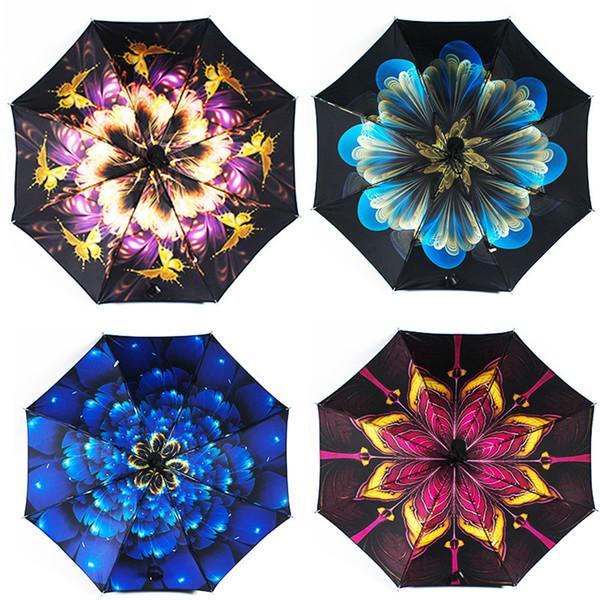 Fleur florale parapluie en plein air Voyage pluie Portable protection PARASOLS trois parapluie pliant fois Imperméables LJJA3151