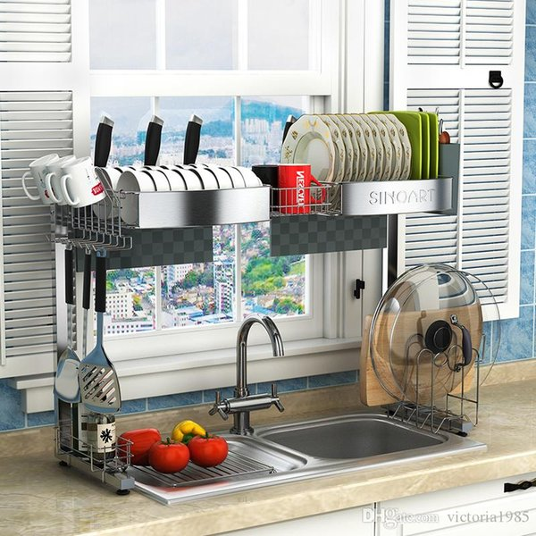 New arrive Fast shipping 90cm wide 304 Stainless Steel Kitchen Shelf Drainage Rack Sink Rack Bowl Dishes Chopsticks Supplies Drainage Rack