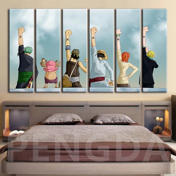 Leinwand-Wand-Kunst-Modular Bild Hauptdekoration Japan-Animation One Piece Poster Moderne Wohnzimmer HD-Druck Gemälde Rahmen