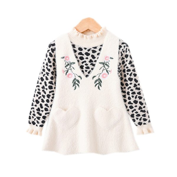 2 to 7 years baby & kids knitted leopard sweater with vest jumpsuit two pieces sets children girl fashion fall winter set
