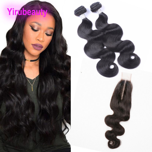 Brazilian Virgin Hair Body Wave 2 Bundles With 2X6 Lace Closure 3 Pieces/lot Human Hair Extensions With 6*2 Closure Baby Hair Middle Part