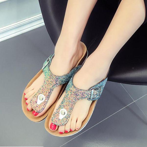 New Beach Cork Flip Flops Slipper Casual Summer Women cartoon pictures Color Slip on Sandals Flat Shoe Free Shipping