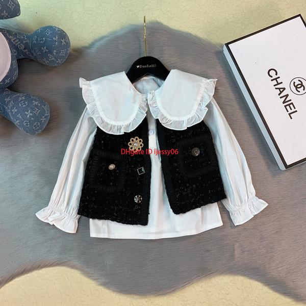 Mädchenhemden stellt Kinddesignerkleidung Normallackpuppekragenhemd + schwarze Weste 2pcs grob gesponnene materielle Herbstwesten der Wollen setsnew ein