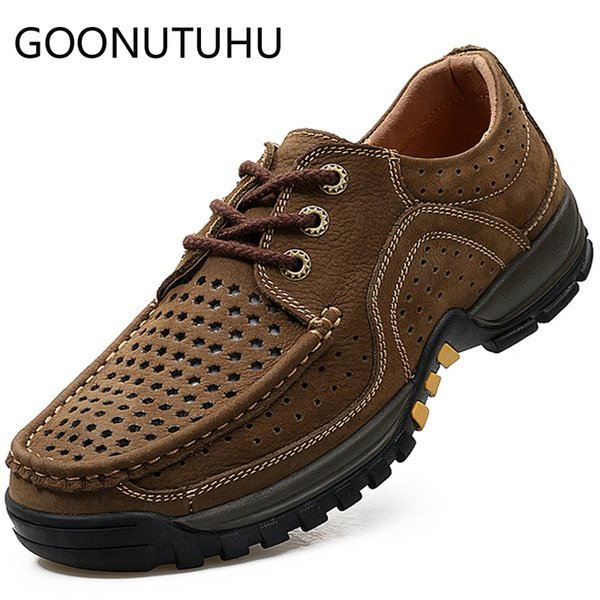 2019 summer men's shoes casual genuine leather male brown lace up or slip on shoe man hollow breathable shoes for men size 38-44