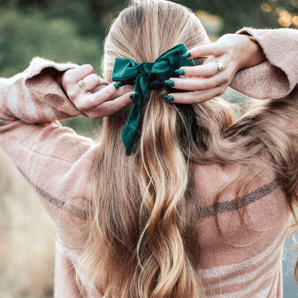 best selling Amazon hot sale new listing Bow hair ties wholesale custom women elastic hair ties high end velvet hair accessories
