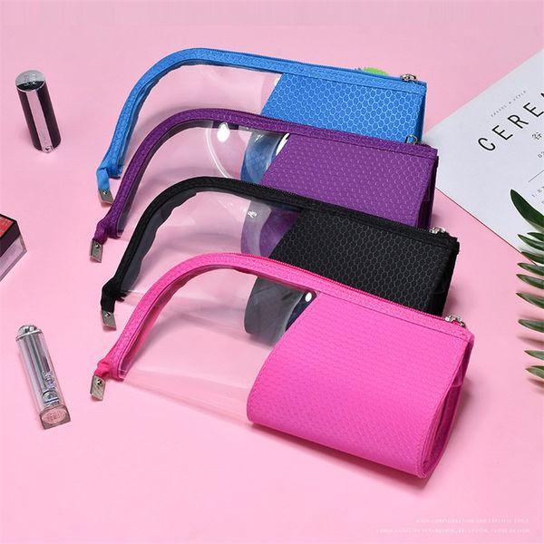 Mujeres Bolsa de maquillaje transparente con cremallera Bolsas de almacenamiento de lápiz de ceja a prueba de agua aptos Viajando Bolsa de cosméticos Azul Negro Color 11 5hd E1