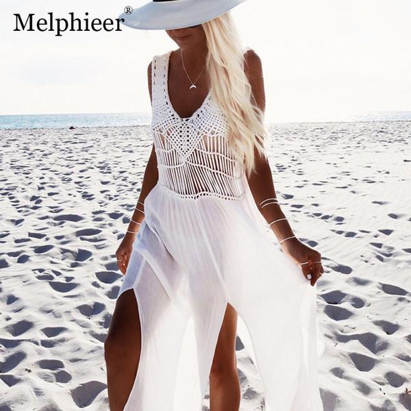 Costume da bagno bianco da spiaggia Cover Up Bikini 2018 Costume da bagno sexy da donna Gonna da bagno all'uncinetto Costume da bagno per ragazze Coprispalle Svasato Costume da bagno Y19072001