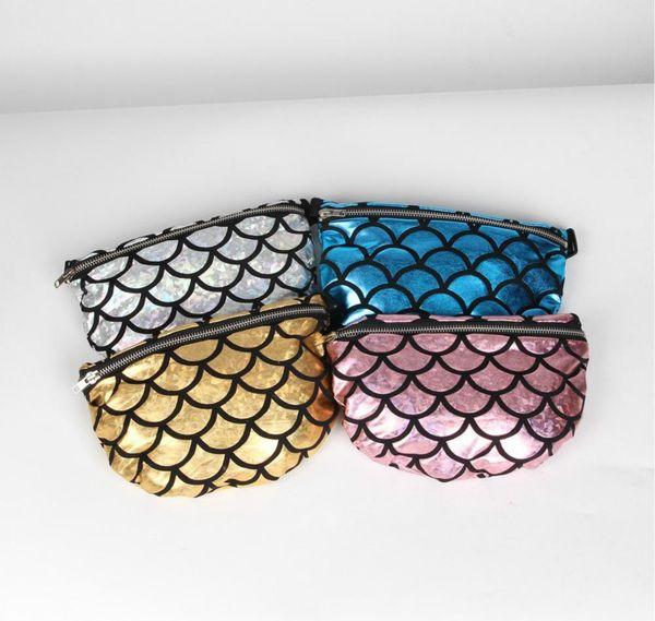 4 Colors Mermaid Fish Scale Pattern Waist Belt Pouch Storage Bag Travel Closet Organizer Designer Handbags Backpack