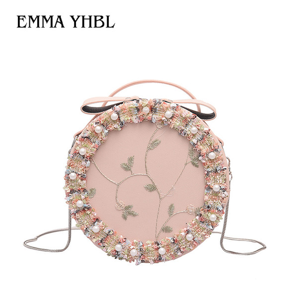 EMMA YHBL Spring 2019 fairy lace flower small round bag Korean version of cute chain single shoulder crossbody bag