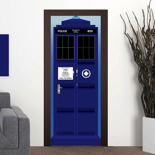 New Doctor Who Wall Decal Blue TARDIS Fathead-Style Door wall Sticker Graphic Unique Mural Cosplay Gifts WN642B