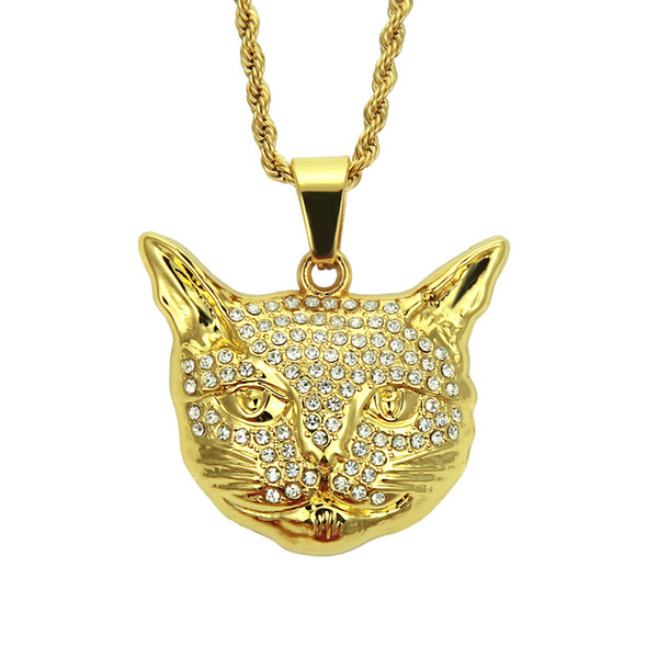 Animal pendant necklace Hip hop cat head pendant necklace AAA Crystal rhinestone set Eco-friendly material jewelry wholesale factory direct