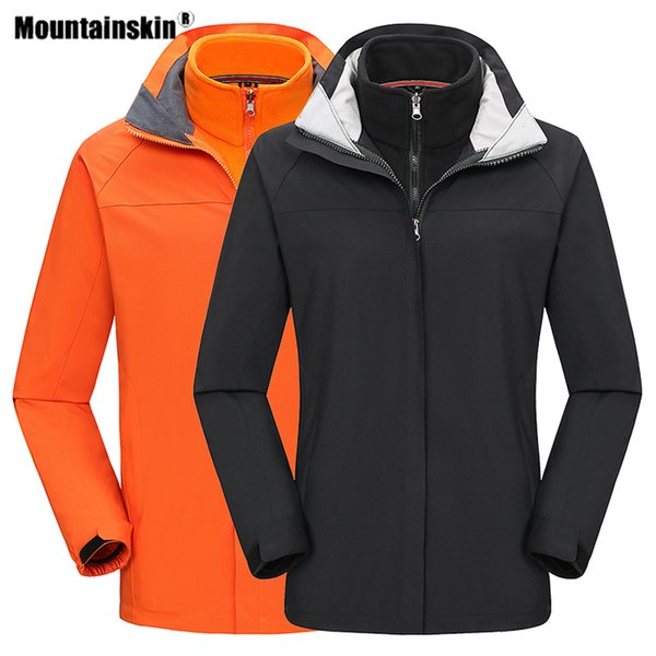 mountainskin winter men women's 2 pcs hiking softshell jackets outdoor sports windbreaker climbing camping trekking coats va649 - from $56.01