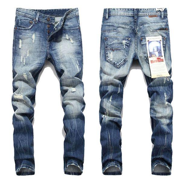 Nouveau jeans homme moto motard jeans rock revival rock skinny slim trou déchiré hommes célèbre marque pantalon en jean hommes