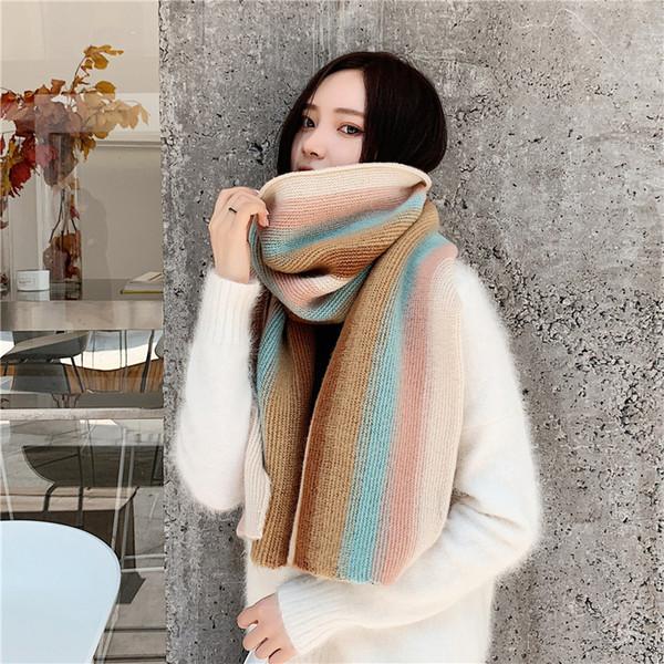 Luna&Dolphin Women Fashion Knitted Scarf Winter Rainbow Striped Wool Pashmina 152x45CM Blue Pink Yellow Woolen Long Soft Scarf SH190930