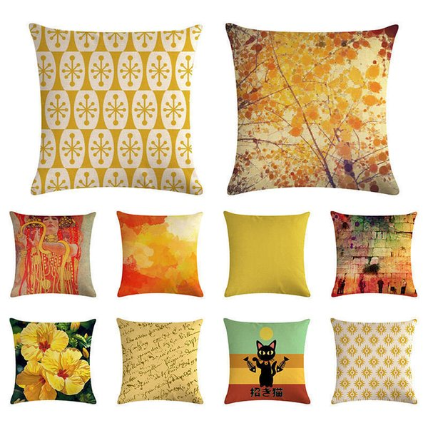 Sarı Dekoratif Yastık Kılıfı Yastık Kapak Çiçek Kelebek Renkli Dekor için Koltuk Geometrik Yastıklar Pillowcover ZY1392 atın