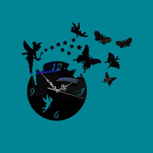 New Fairy Butterfly Star Decorazione per la casa Orologio decorativo fai da te Orologio stereo da parete con specchio stereo acrilico 3D