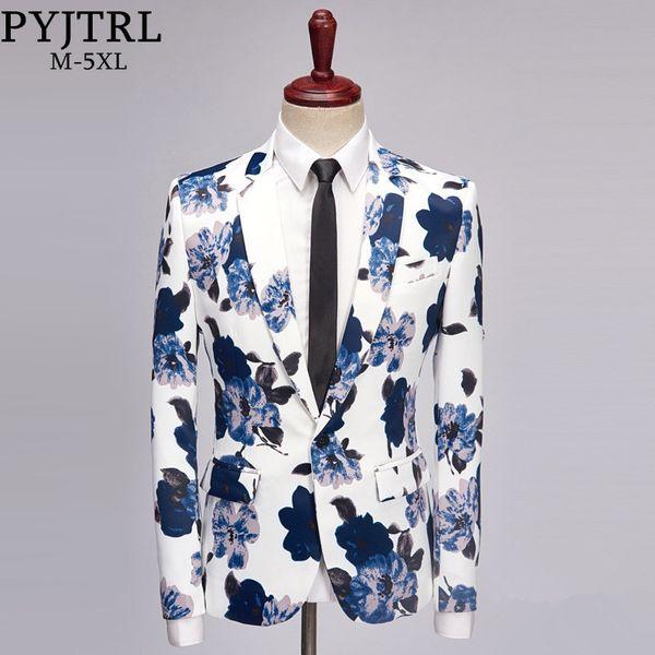 PYJTRL Brand Tide Men Fashion Floral Print Slim Fit Blazer Stage Costumes Wear For Singers Bar DJ Plus Size Male Suit Jacket #490686